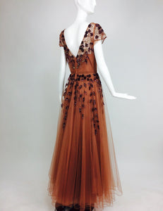 Beaded & sequined cinnamon tulle 1940s evening gown