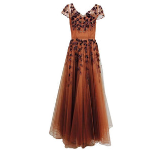 Vintage 1940s Beaded and Sequined Cinnamon Tulle Evening Gown