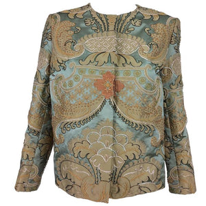 Custom Made French Silk Appliqué Embroidered Jacket 1960s