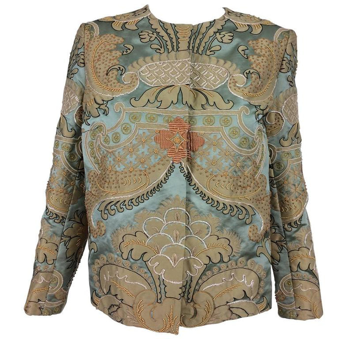 Vintage Custom French Silk Appliqué Embroidered Jacket 1960s