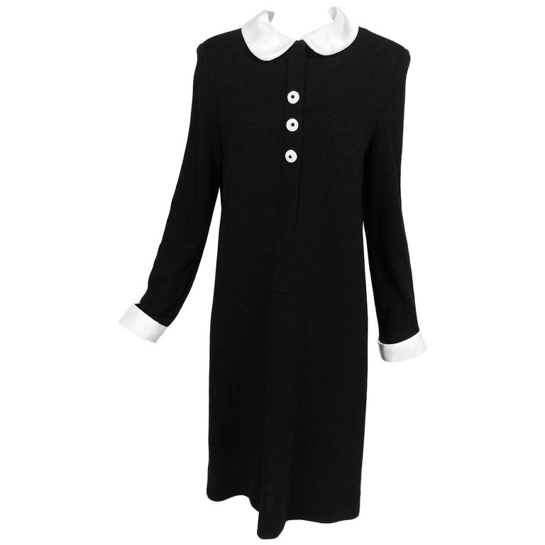 Vintage Adolfo Black Knit Mod Dress With White Satin Collar and Cuffs 1970s