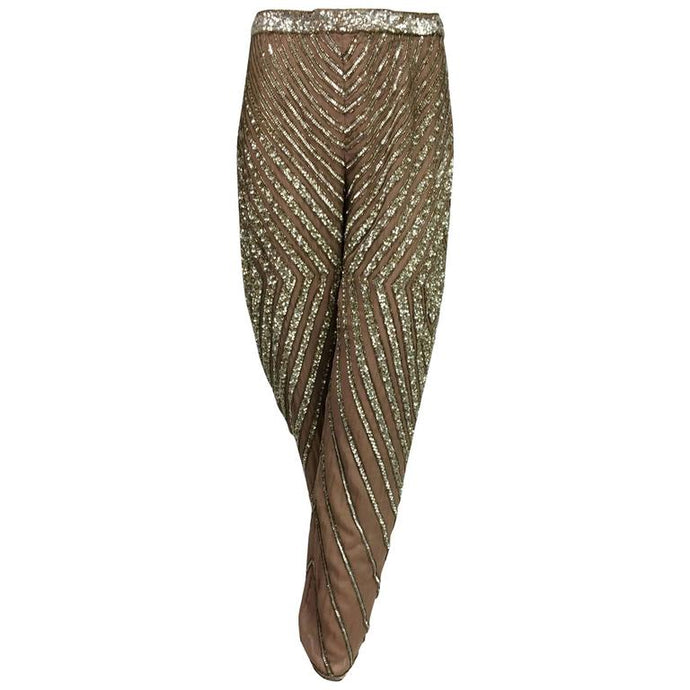 Valentino S/S 2001 nude silk chiffon gold bead silver sequin trouser look 57
