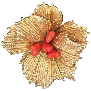 Gold Floral Brooch With Coral Center Grosse Germany 1960s