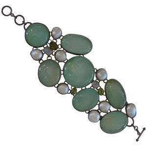 Large Chalcedony, blister pearl, peridot, opal and sterling silver bracelet