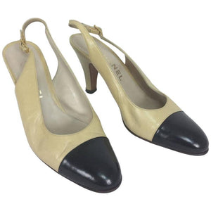 Chanel Cassic Bone and Back Sing Back Pumps 38