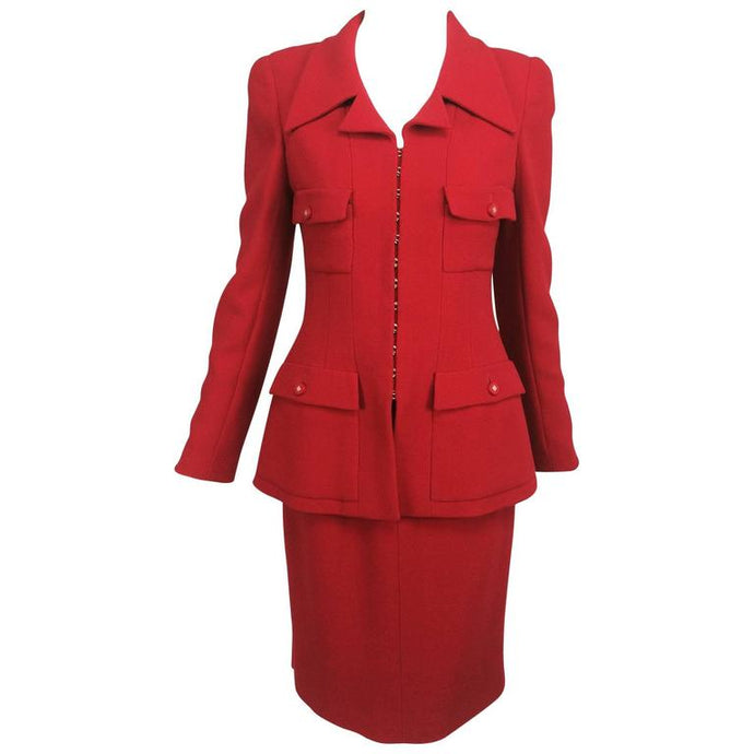 Chanel Fire Engine Red Wool Military Inspired Suit 1996A