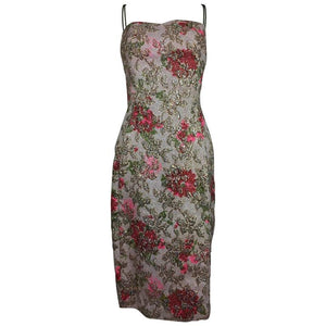 Metallic brocade sheath dress with chiffon drape 1950s