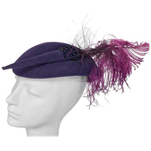 Mr John purple wool beaded and feather cocktail hat 1950s