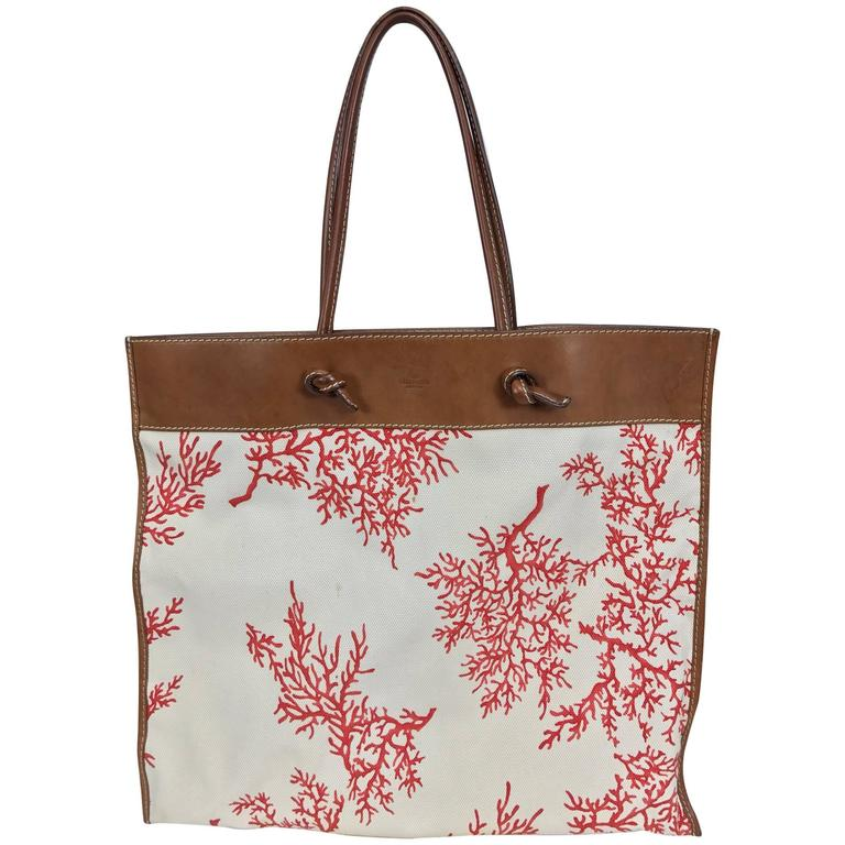 SOLD Valentino leather trimmed painted coral canvas tote bag