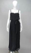 Adele Simpson Black Chiffon Pleated Maxi Dress 1970s