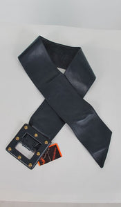 SOLD Yves Saint Laurent wide dark blue leather belt with studded buckle
