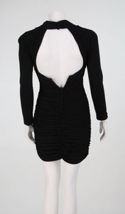 "Vicky Tiel ""Fauve""  shirred drape cocktail dress 1980s"