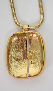 Lanvin gold modernist pendant necklace 1970s