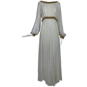 Vintage Cream silk chiffon maxi dress gold braid trim 1970s