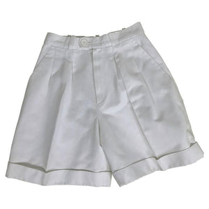 SOLD Yves Saint Laurent white cotton twill cuffed shorts 1970s