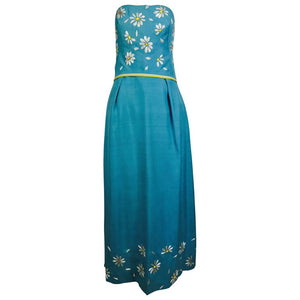Philip Hulitar Daisy Embroidered Blue Slub Silk Strapless Gown 1950s