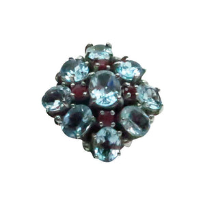 Large Faux aquamarine & ruby cocktail ring
