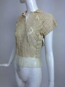 SOLD Sheer cream cotton tulle & lace button front short sleeve blouse 1930s