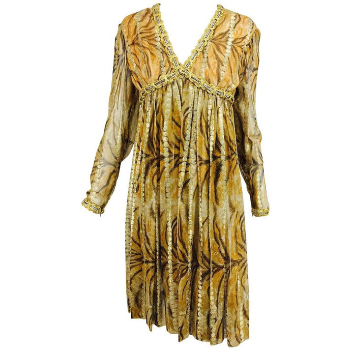 vintage Bill Blass Metallic Silk Chiffon Tiger Stripe Cocktail Dress 1970