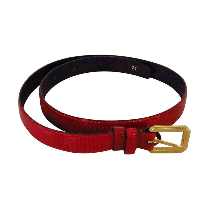 Bottega Veneta Candy Apple Red Lizard Belt