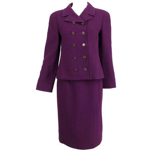 Chanel Aubergine Boucle Classic Double Breasted Skirt Suit 1998A