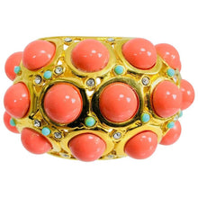 Kenneth J Lane faux coral turquoise rhinestone gold clamp cuffs bracelet