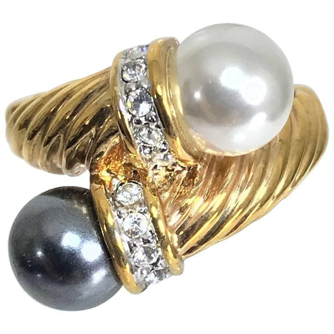 Grey and White Faux Pearls gold Twist ring with rhinestones