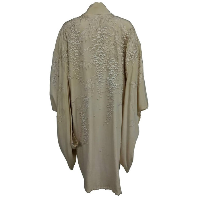 Wisteria embroidered cream silk short kimono 1920s