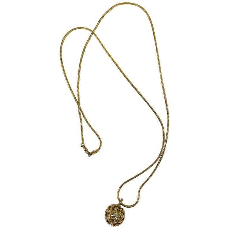 Christian Dior Gold Snake Chain and Rhinestone Orb Drop Necklace