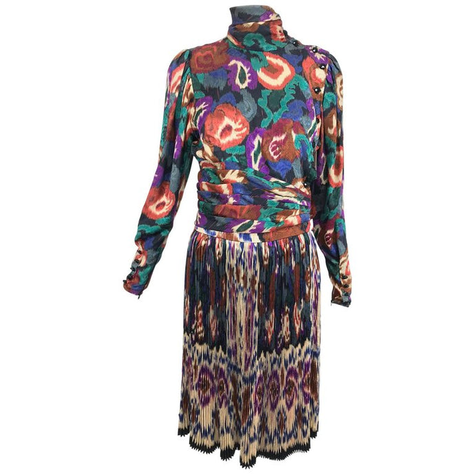 Emanuel Ungaro Rich Silk Jacqard Ikat Print Pleated Skirt and Top 1980s