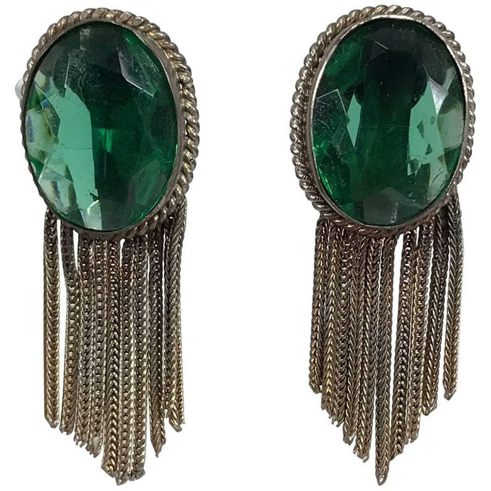 Faux Emeralds with Gold Metallic Fringe Earrings 1950s