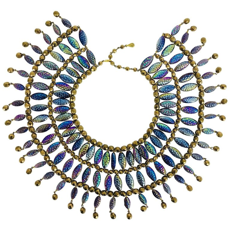 Lester Joy Les Bernard huge iridescent glass beaded collar necklace 1970s