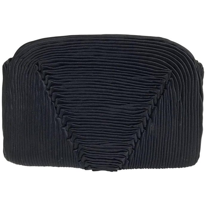 Bergdorf Goodman Hand Pleated Black Silk Evening Clutch 1950s