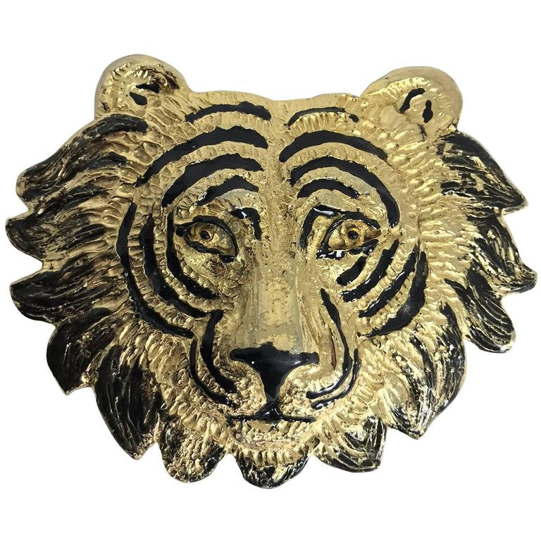 SOLD Mimi di N Tiger face belt buckle dated 1987