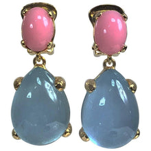 Pale blue and pink cabochon dangle earrings made in Italy