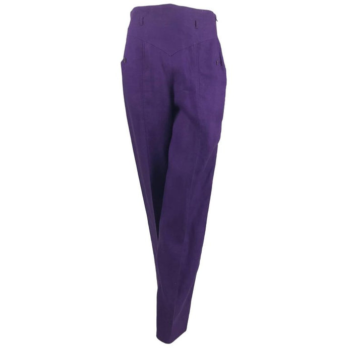 SOLD Gucci purple linen high waist trousers 1980s