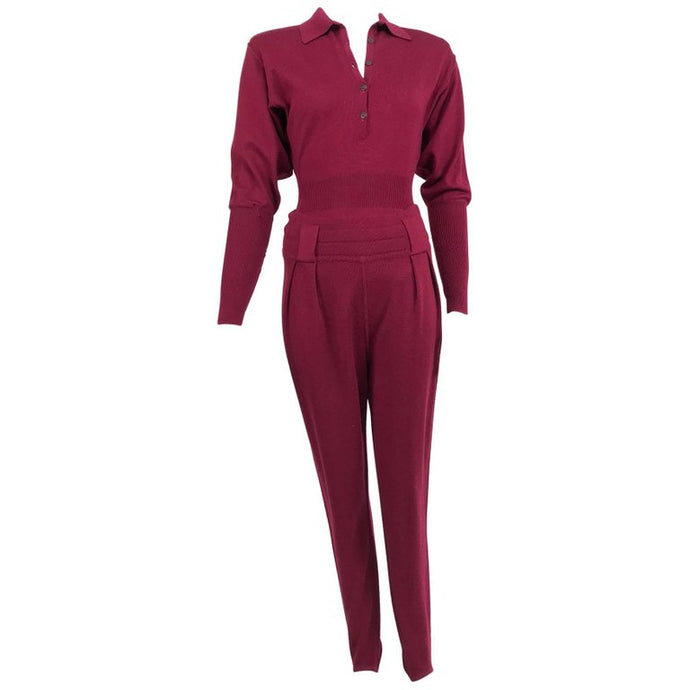 Vintage Azedine Alaia Burgundy Wool Knit Body Suit and Stirrup Trousers 1980s