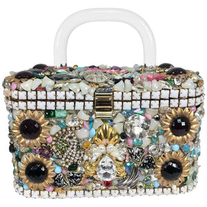 Custom Made Jewel Encrusted Lucite Handle Hand Bag 1980s