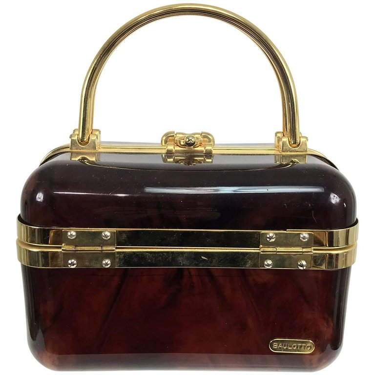 Vintage Baulotto Italy Faux Tortoise Shell Lucite Hand Bag Gold Hardware 1970s