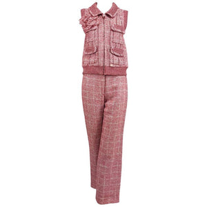 Chanel Red and White Plaid Sequin Vest and Trouser Set 2001P