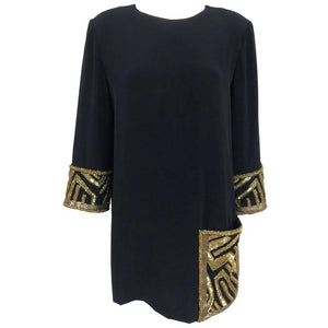 Bob Mackie Beaded black Crepe Tunic Mini Dress, 12