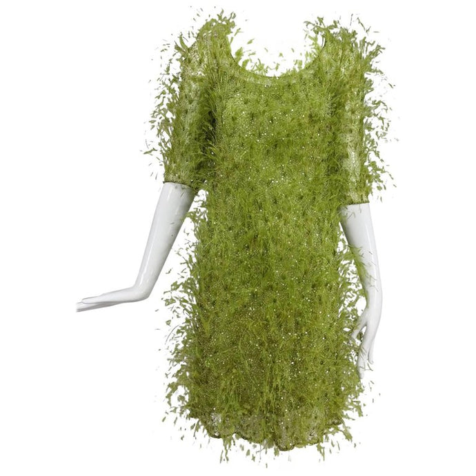 Chado Ralph Rucci Spring Green Feather and Sequin Dress