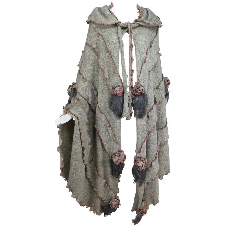 SOLD Leigh Westbrook hooded gray knitted wool cape art to wear 1980s