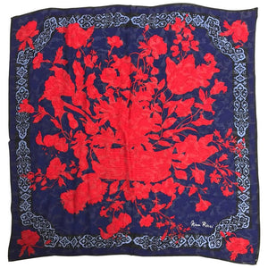 Nina Ricci red and blue floral silk scarf