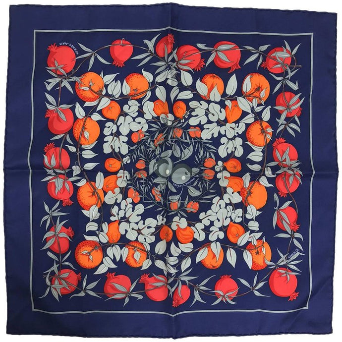 SOLD Hermes by Annie Faivre Jardins d'eden silk pocket square