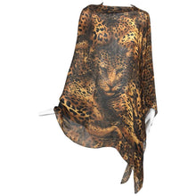 SOLD  Yves Saint Laurent large leopard silk chiffon shawl scarf