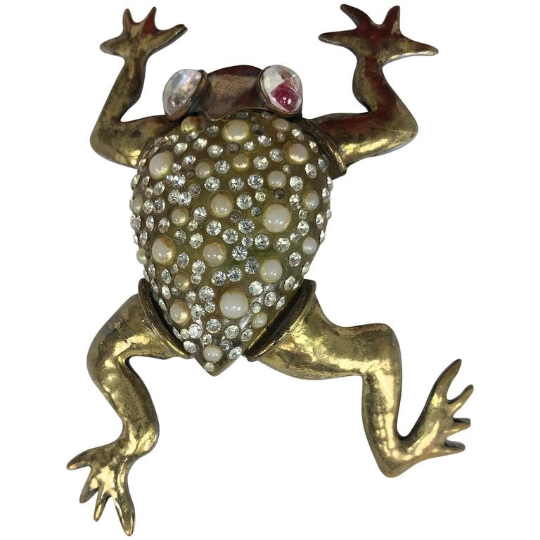 Fabrice Paris Huge Frog Brooch Rhinestone Pearl Gold Metal