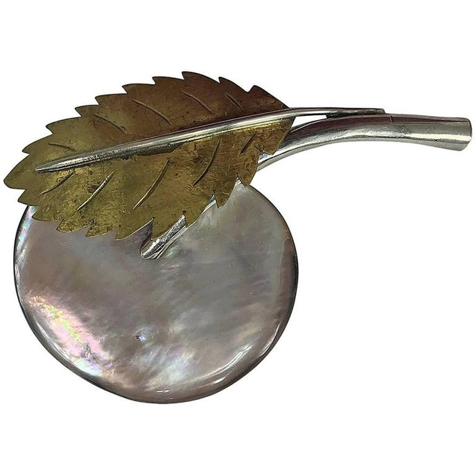 Fabrice Paris Large Mother of Pearl Fruit Leaf Brooch