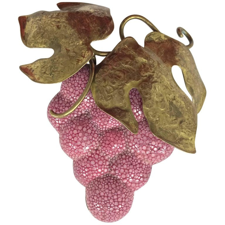 Fabrice Paris giant pink grapes with gold metal leaves brooch