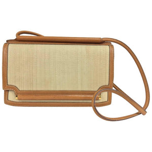Hermes Vintage Tan Leather and Horsehair Crinoline shoulder bag, 1981